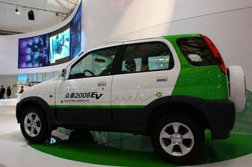 A new electric car 2008EV introduced by the Zotye Holding Group is displayed at the ongoing Shanghai Auto Show. With concern of a green future and in answer to the Chinese government's appeal for energy-efficiency, global and domestic automobile manufacturers are showcasing their electric car models at the auto show. [auto.163.com]