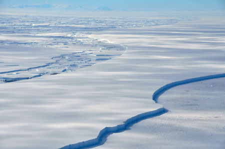The Wilkins Ice Shelf off the Antarctic Peninsula is seen breaking up January 18, 2009.[Xinhua]