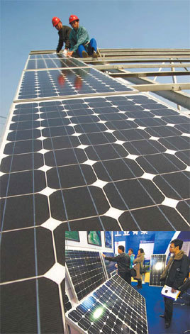 Installing photovoltaic panels on a building in Chaohu, Anhui province. (Inset): Potential customers inspect solar panels.