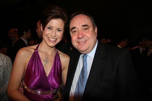 Celtic harpist Katie Targett Adams along with Scotland's First Minister Alex Salmond