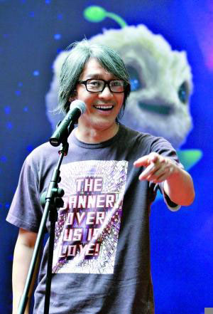Stephen Chow speaks at a press conference in Beijing on Monday, June 8, 2009.