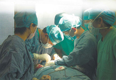 Doctors perform a gender reassignment surgery in Beijing.