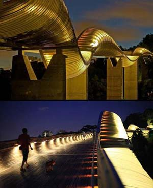 Henderson Wave Bridge, the highest pedestrian bridge in Singapore, is uniquely shaped to resemble a wave with four peaks and three troughs. It offers a new place for sightseeing, and the bridge itself is absolutely stunning. The design of waves in motion gives makes a huge visual impact. The bridge connects Mount Faber Garden and Telok Blangah Mount Garden.