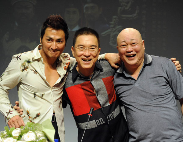From left to right: Kenny Ho, Fan Hung-Hsuan and Jin Chao-Chun promote a new remake of 'Bao Qing Tian' in Shanghai on July 21, 2009.