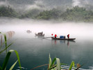 Foggy scenery on river in C China