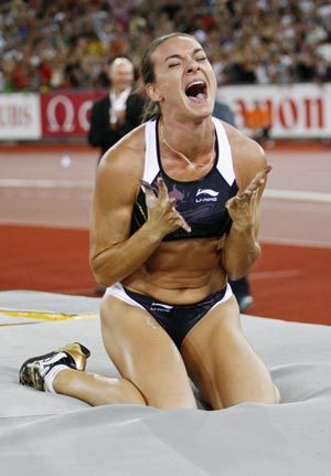 Yelena Isinbayeva of Russia reacts after her jump during the women's pole vault event at the IAAF Golden League athletics meeting at the Letzigrund stadium in Zurich August 28, 2009. [Xinhua]