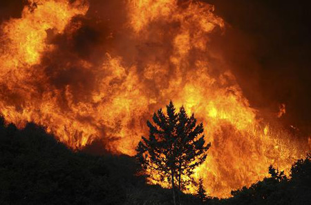 Flames rage in the Big Tujunga Canyon area during the Station Fire in the Big Tujunga area of Los Angeles, California August 29, 2009.