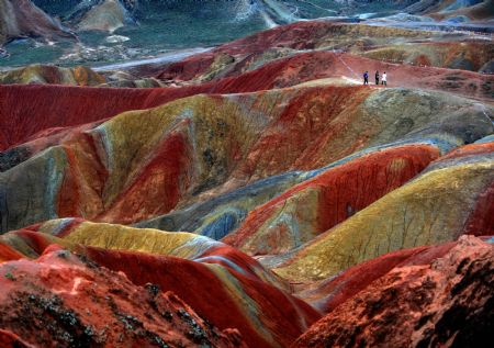 Picture taken on Sept. 8, 2009 shows a view of the Danxia Landform at a geopark in Zhangye, northwest China's Gansu Province.