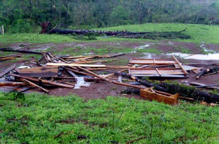 Ruins are remained after a tornado swept Argentina's northern province of Misinoes, Sept. 8, 2009.(