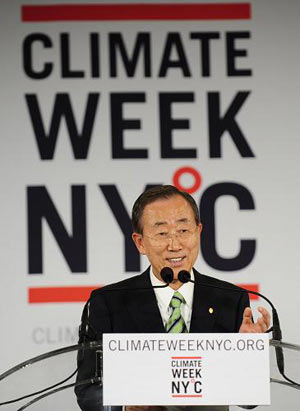 United Nations Secretary-General Ban Ki-moon speaks during the opening ceremony of Climate Week NYC Monday, Sept. 21, 2009 in New York. (Xinhua/AFP Photo)