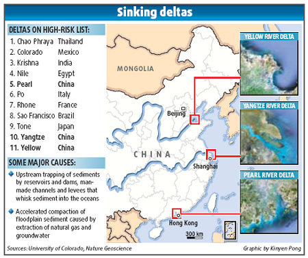 Three river delta areas sinking, report claims