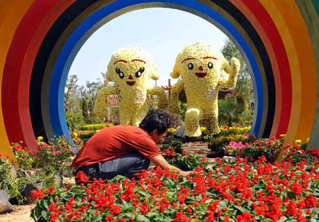 A worker arranges flowers at the Hong Kong Garden of the Seventh China Flowers Expo in Beijing, China, Sept. 23, 2009. Over 1,300 companies will participate in the Seventh China Flowers Expo that opens on Sept. 26.(Xinhua/Luo Xiaoguang)