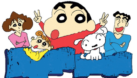 The cartoon images of Shin-chan and his family.