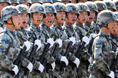 Paratroopers march through Tian'anmen Square