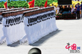 Navy sailors march through Tian'anmen Square