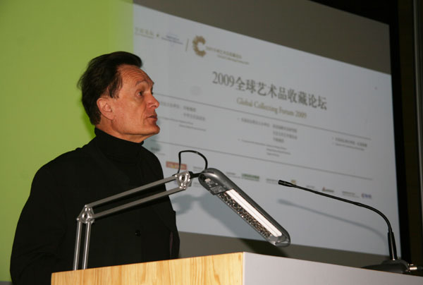 Martin Kemp, art historian and Emeritus Professor in the History of Art at Oxford University, gives a speech at the Global Collecting Forum on October 11, 2009 in Beijing.