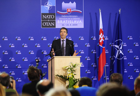 NATO Secretary General Anders Fogh Rasmussen addresses a press conference in Bratislava, capital of Slovakia, Oct. 23, 2009. NATO defense ministers gave broad support on Friday to the United States revised plans for a missile defense shield in Europe during the Informal Meeting of Nato Defense Ministers held from Oct. 22 to 23 in Bratislava. [Zeng Yi/Xinhua]