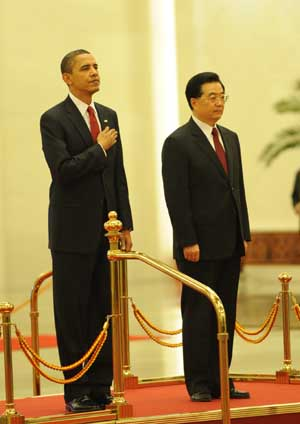 Chinese President Hu Jintao holds a welcome ceremony for visiting U.S. President Barack Obama at the Great Hall of the People in Beijing on Nov. 17, 2009.
