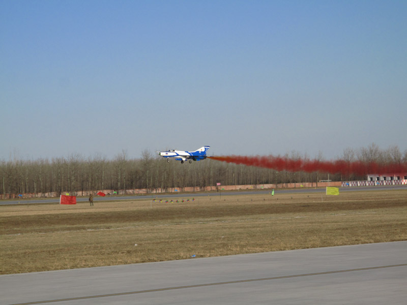 Photo taken on November 15 shows a J-7GB air fighter performs during an air force show in Beijing Shahe airport. [Jiang Yiping/China.org.cn]