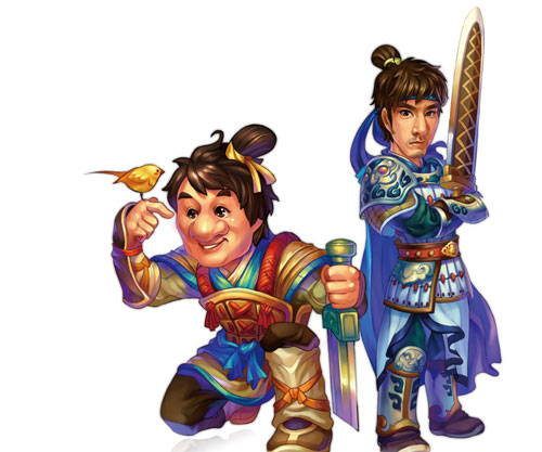 Cartoon images of Jackie Chan and Lee-Hom Wang in the video game spin-off of their film 'Big Soldiers.'