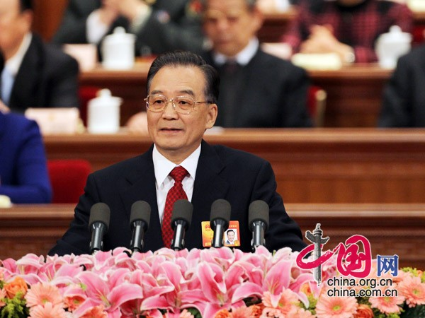 The 11th National People's Congress (NPC), the top legislature of China, starts its third session at the Great Hall of the People in Beijing at 9 a.m. March 5, 2010. Premier Wen Jiabao delivers a report on the work of the government at the opening meeting.