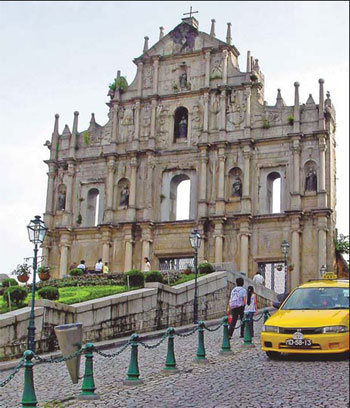 The ruins of the Church of St Paul's, built in             1602, is a fine example of Macao's cultural heritage. Wu Hede / Asia             News photo