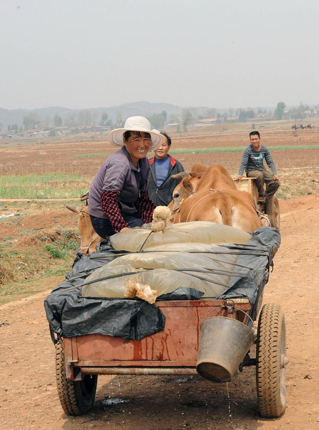 A villager sitting on an ox wagon filled with water smiles in Yinggou village of Xuanwei city, in southwest China's Yunnan province, on March 24, 1010.[Xinhua]