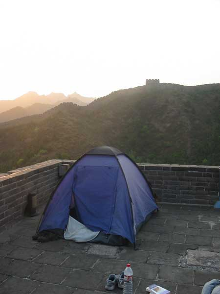 Wonder if you can see this tent from space? A camping area on the Great Wall. Photo: Courtesy of Jason Wang