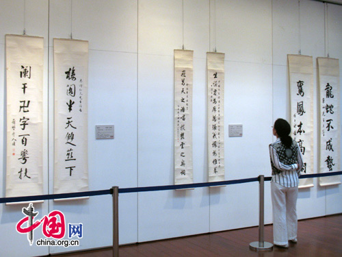 A visitor stands in front of calligraphies. 一位参观者站在书法作品前欣赏