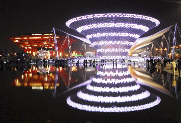 The photo taken on May 2, 2010 shows the 'One Axis and Four Pavilion' area in 2010 World Expo Site in Shanghai, China. [Xinhua Photo]