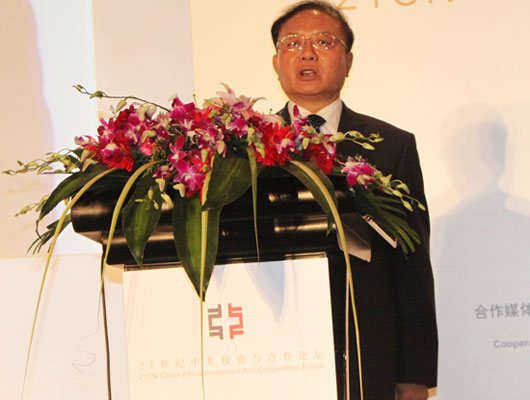 Wei Jianguo, former vice commerce minister, speaks at the 21CN China-Africa Investment and Cooperation Forum held in Beijing on May 28, 2010.