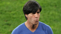 Germany's coach Joachim Loew reacts during the 2010 World Cup semi-final match against Spain in Durban, South Africa, July 7, 2010. Germany lost the match 0-1.