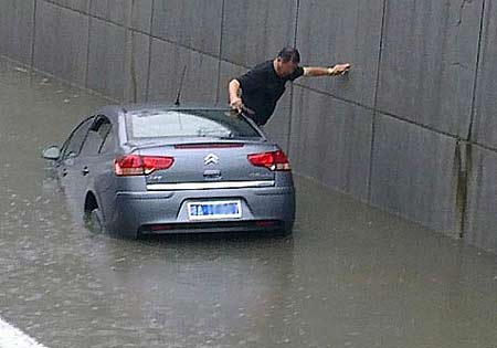 how to get out of sinking car