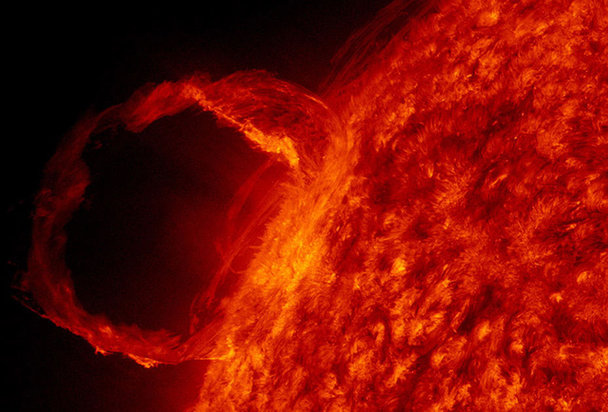 British scientists warned that a mighty eruption of superhot plasma blasted out of the sun could hit the earth as early as Tuesday.[NASA]