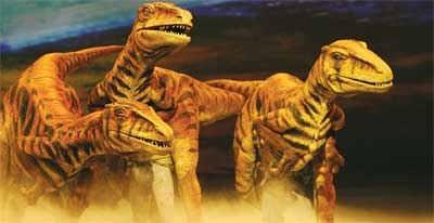A scene on the stage of Walking with Dinosaurs