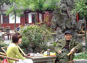 Young and old alike like to pass the time at the teahouse, Chengdu