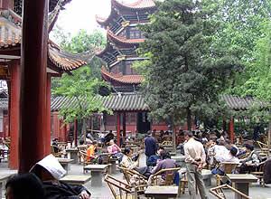 The tea house at Wenshu Temple, Chengdu