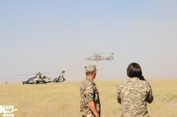 Chinese helicopters arrive in Kazakhstan for the SCO anti-terror drill, 'Peace Mission 2010'.[Xinhua]