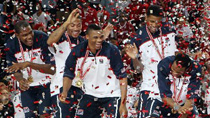 U.S. players celebrate at the awarding ceremony of the 2010 FIBA Basketball World Championship in Istanbul, Turkey, on Sept. 12, 2010.