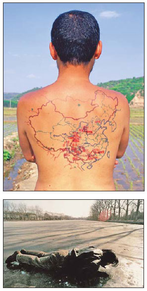 Above: In Miniature Long March, artist Qin Ga tattoos a record of his travels across China, following the Long March route. Below: Breathing, by Song Dong, involves breathing on the ground in different locations.