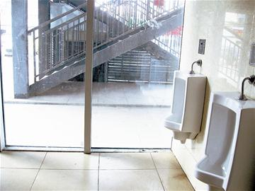 A public toilet in Hankou, Hubei Province has glass walls that allow passers-by a full view. Most people admit to having a bashful bladder.