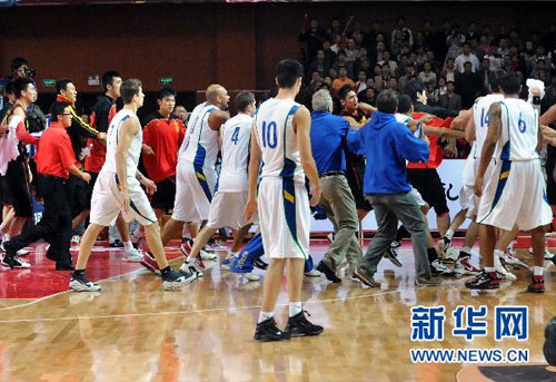 Players from both the China and Brazil national basketball teams were involved in a mass brawl Tuesday. [Photo: Xinhuanet]