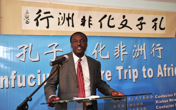 Ludeki Chweya, the Permanent Secretary in Kenya's Ministry for Home Affairs speaks in the Confucius Institute at Kenya's University of Nairobi in Nairobi, capital of Kenya, Oct. 19, 2010.