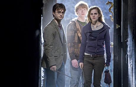Daniel Radcliffe, Rupert Grint and Emma Watson are shown in a scene from 'Harry Potter and the Deathly Hallows'. [AP]