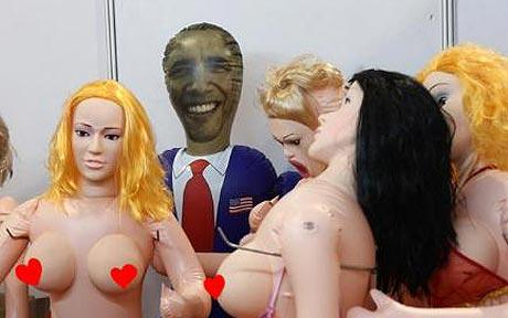 A doll wearing a dark blue suit and red tie, and with Obama's face carefully screen-printed onto its head, was exhibited at the recent 8th Sex Culture Festival in Guangzhou.