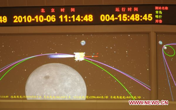 Screen shows the virtual animation of the first braking of Chang'e II lunar probe in Beijing Aerospace Control Center in Beijing, capital of China, Oct. 6, 2010. China's second unmanned lunar probe, Chang'e II, completed its first braking Wednesday, which decelerated the satellite and successfully made it enter a 12-hour orbit, according to the Beijing Aerospace Control Center. [Xinhua]