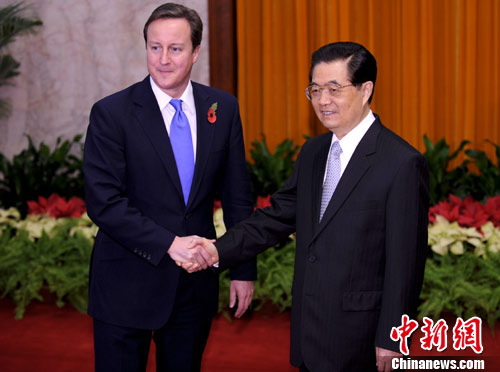 Chinese President Hu Jintao met with British Prime Minister David Cameron in Beijing, November 10, 2010.