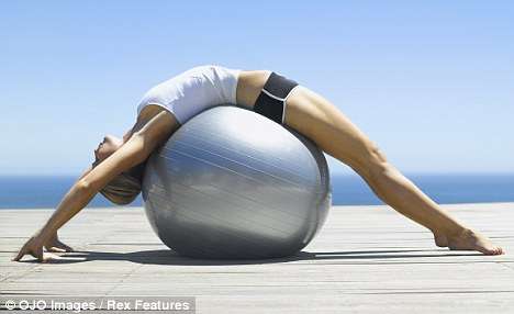 An inflatable rubber ball can strengthen the back and help relieve back pain.