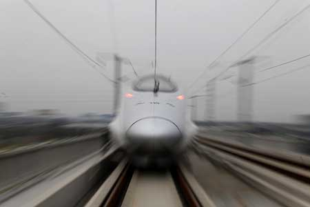 The Shanghai-Hangzhou high-speed rail, with a design speed of 350 kilomters per hour, is seen amid a trial operation October 20.