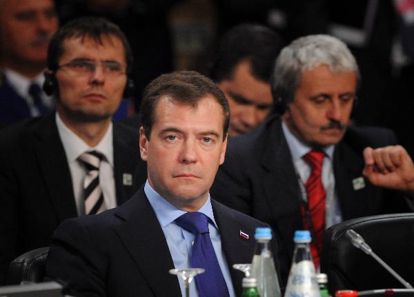 Russian President Dmitry Medvedev attends the NATO-Russia Council summit in Lisbon, capital of Portugal, Nov. 20, 2010. [Xinhua]